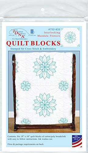 Jack Dempsey Mandala Flower Stamped Quilt Blocks (6/Pack), 18