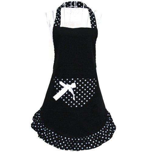 Foxnovo® Fashion Dots Muster Sleeveless Halter-Neck Style Baumwolle Tuch Schürze Küche Schürze schwarz
