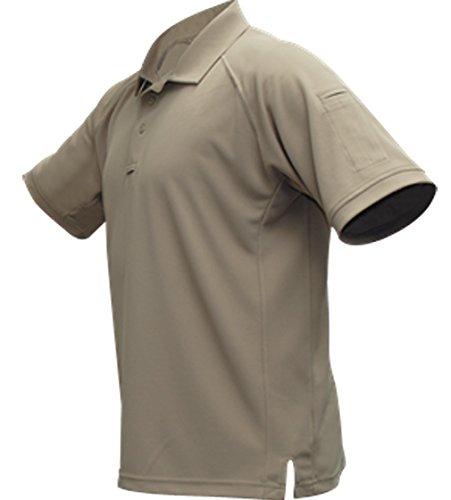 (Vertx Men's Cold Short Sleeve Polo Shirt, Tan, Large)
