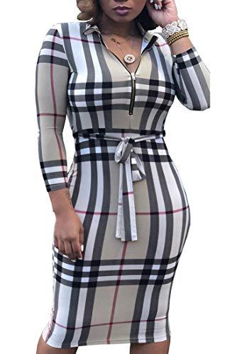 PerZeal Women's Sexy Floral Stripe 3/4 Sleeve Bodycon Midi Dress with Belt