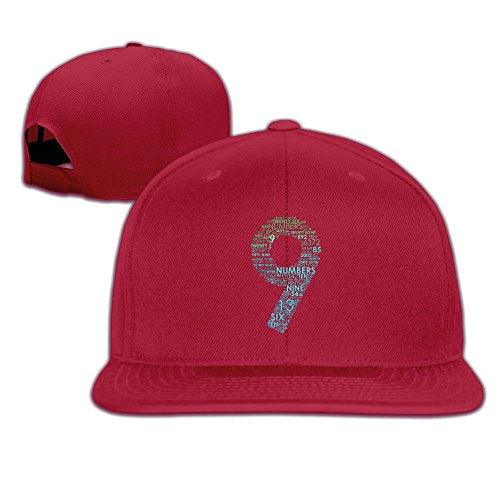 Bdna Dream Number 9 Unisex Cotton Flat Baseball Cap Red One - Catalog Hut