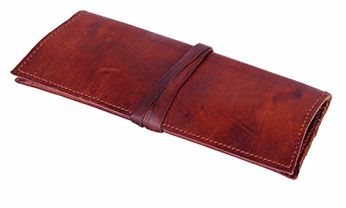 Craftsman Style Rough (Leather Pencil Case Vintage Pencil Pen Pouch Roll up for School Office School Gift for Him Her)