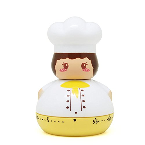 Golandstar Cute Cartoon Chef Timers 60 Minutes Mechanical Kitchen Cooking Timer Clock Loud Alarm Counters Mini Size Manual Timer (Yellow)