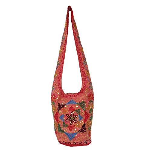 Elegante Zari Filo Paillettes ricamato cotone Shopping Jhola Borsa