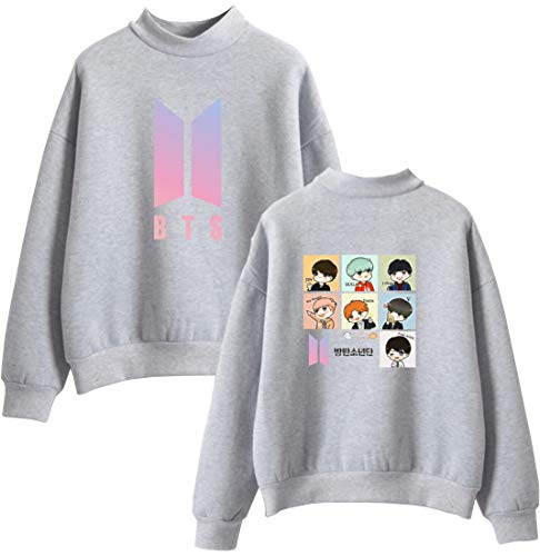 Personaggio Personaggio BTS Unisex KPOP KPOP KPOP Fans Stampa dei Felpa Animati Manica Sweatshirt Accollato Lunga EMILYLE Grigio Cartoni dX5AqcwAa