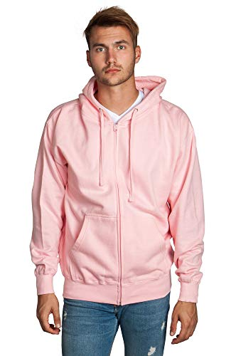 Zeratova Stylish Full Zip Up Hoodie for Men's Boys- Pullover Active EcoSmart Jacket with Long Sleeves, Fleece Lining & Pockets - Zippered Sweatshirt for Sports - Cotton Hooded Light Pink X Large