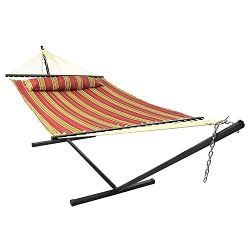 Sunnydaze 2 Person Freestanding Quilted Fabric Spreader Bar Hammock with 12-Foot Stand-Includes Detachable Pillow, 350 Pound Capacity, Red Stripe by Sunnydaze Decor