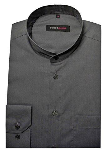 HUBER Stehkragen Hemd dunkel grau bügelleicht Black Purple 0037 Bequeme Passform S - 5XL