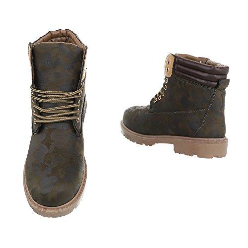 Winterschuhe Worker Profilsohle Damen 2 Outdoor Schuhe Übergrößen Schuhcity24 Boots Stiefeletten Khaki Unisex Übergang Schnürstiefel Gefütterte Leicht Herren Outdoor 1nwSU