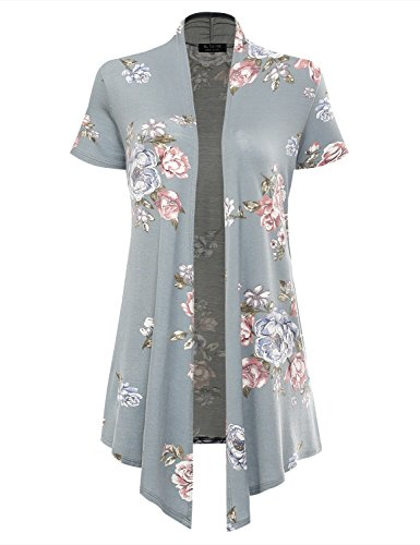 All You Women's Soft Drape Floral Cardigan Short Sleeve Sage 2033 Medium