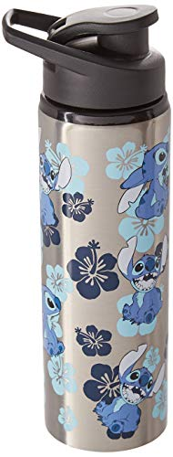 Silver Buffalo LO0189ST Disney Lilo and Stitch Stainless Steel Water Bottle, 25-oz