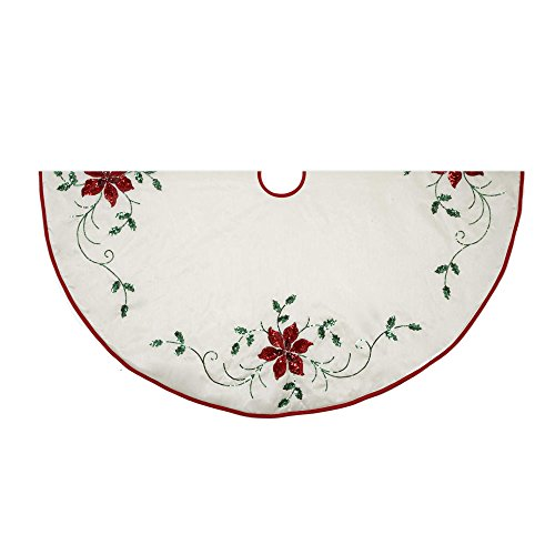 Kurt Adler 48-Inch Treeskirt with Poinsettia Embroidery