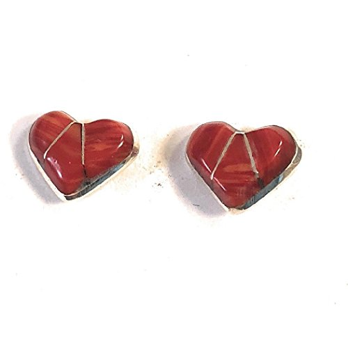 Zuni Sterling Silver Coral Heart Post Earrings from Nizhoni Traders LLC