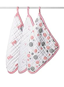 aden + anais 3 Pack Muslin Washcloths, Bathing Beauty (Discontinued by Manufacturer)