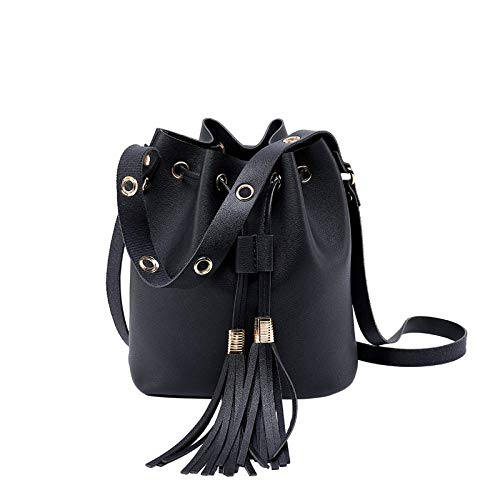 Kangma Women Bucket Bag With Classic Tassel Casual PU Leather Messenger Elegant Solid Shoulder Bags