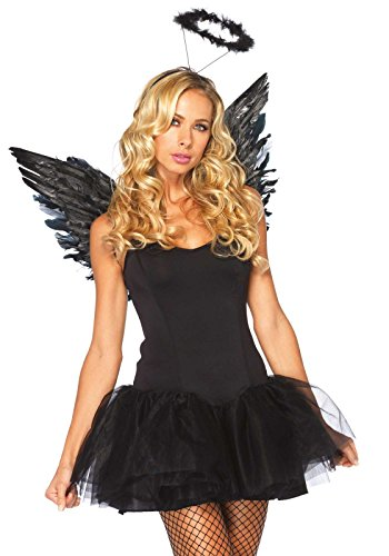 Angel Halloween Costumes Womens (Leg Avenue 2 Piece Angel Costume Accessory Kit, Black, One Size)