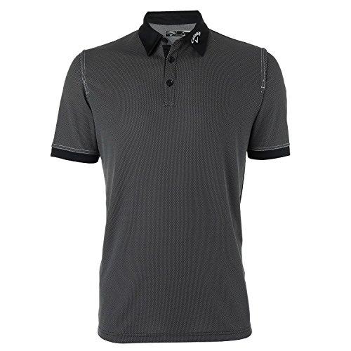 (Callaway Mens Hawkeye Chambray Inspired Short Sleeve Polo Shirt (L) (Caviar))