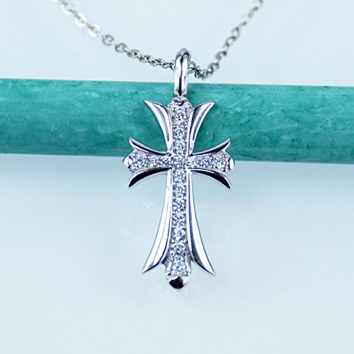 Triple Cross Pendant (Cross Crucifix Pendant Necklace, Simulated Diamond, AAA Cubic Zirconia, Platinum Over Solid Sterling Silver)