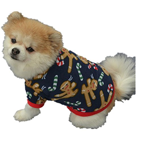 Mikey Store Pet Dog Puppy Christmas Autumn Winter Warm Pullover Embroidered Clothes Coat (Blue, XS) (Dallas Halloween Block Party 2017)