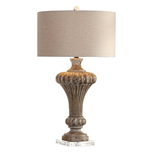 My Swanky Home Classic Ornate Ribbed Tapered Column Table Lamp | Aged Gray Pecan Antique ()