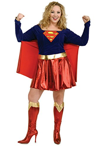 Rubies Womens Dc Comics Supergirl Theme Party Fancy Dress Halloween Costume, Plus (14-16)