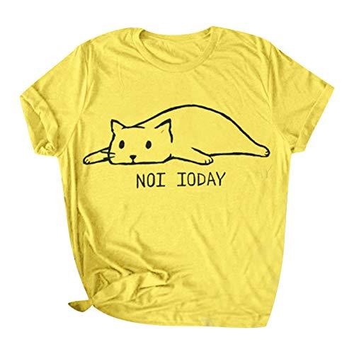 wodceeke Womens Cute Cat Printed Casual Short Sleeve Cotton O-Neck Tees Shirt(Yellow,XL) by wodceeke (Image #6)