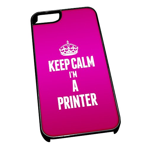 Nero cover per iPhone 5/5S 2653 rosa Keep Calm I m A stampante
