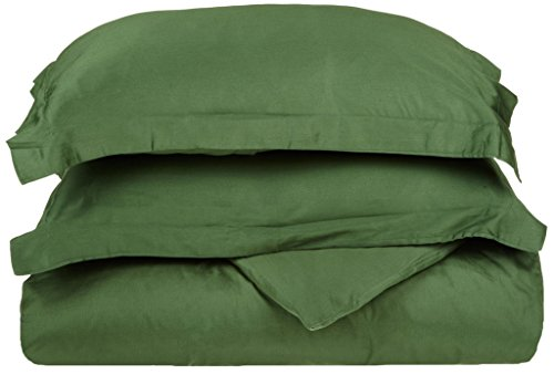 (Superior 100% Premium Combed Cotton, 300 Thread Count 2 Piece Duvet Cover Set with 1 Pillow Sham, Single Ply Cotton, Soft and Luxurious Bedding Sets - Twin Duvet Cover, Hunter Green)