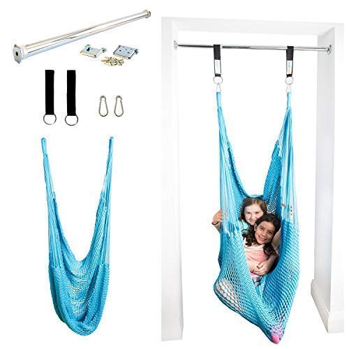 (DreamGYM Net Therapy Indoor Swing with Doorway Support Bar | Sensory Swing for Adults and Children | Blue )