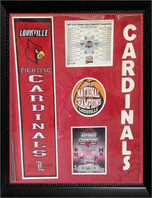 Louisville Cardinals 30x34 custom framed felt logo w/ 2013 Championship photos