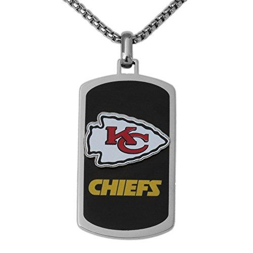 Nfl Logo Pendant (NFL Kansas City Chiefs Men's Stainless Steel Dog Tag Logo Pendant, 22