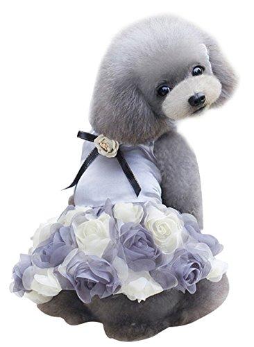 Freerun Puppy Dog Rose Flower Romantic Princess Party Wedding Dress Clothes Tutu Shirts - Gray, XL