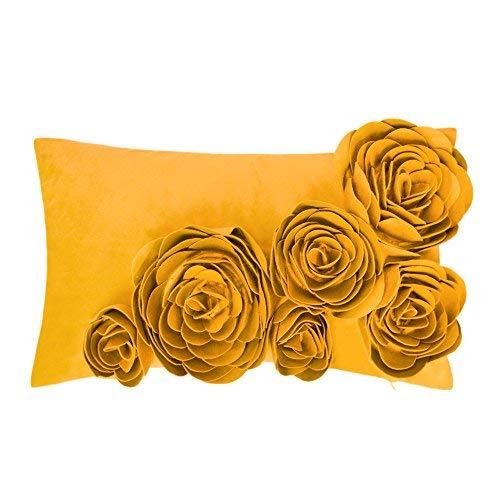 JWH 3D Handmade Accent Pillow Case Rose Flower Cushion Cover Super Soft Velvet Decorative Pillowcase Home Sofa Car Bed Living Room Office Chair Decor Shell Girl Gift 12 x 20 Inch Yellow