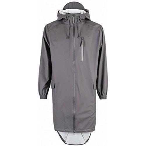 Grey Steel Rain Jacket (Rains Unisex Parka Coat Unisex Raincoat In Grey in Size Small / Medium Grey)