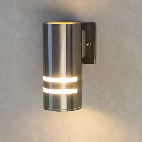 Naturous PLW01 Waterproof Cylinder Porch Light Outdoor Lighting UL US  Listed Wall Sconce Brushed Nickel Suitable For Villa