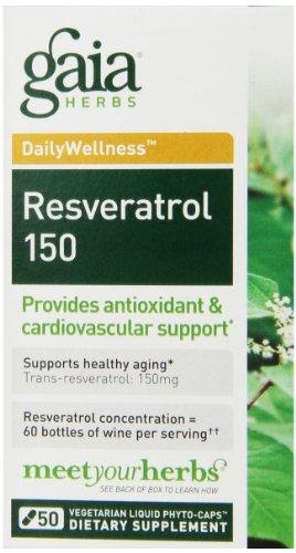 Gaia Herbs Resveratrol 150 Liquid Phyto-Capsules, 50 Count
