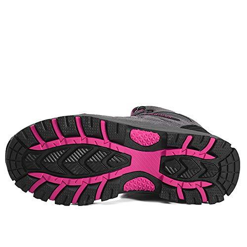 35 Outdoor Wasserdicht Winter FOGOIN Herren Warm Boots 45 Damen Hiking Trekking Grau pink Wanderschuhe Winterschuhe Gefüttert w7qpg7a