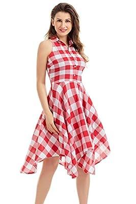 JomeDesign Women's Sleeveless 1950's Vintage Plaid Swing Party Dress