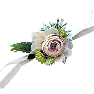 Yokoke Artificial Peony Silk Flower Boutonniere Bouquet Corsage Wristlet Vintage Fake Succulent Plants Pink Peach For Wedding Decor 2 Pc (wristlet) 119