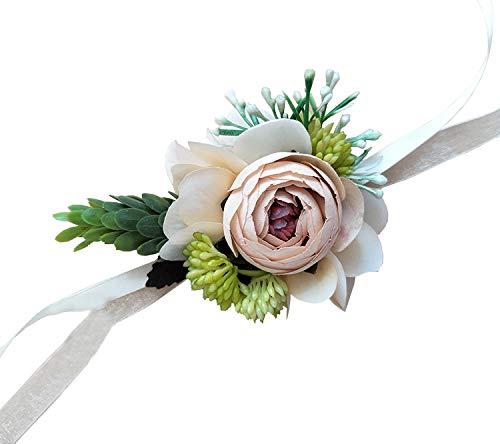 Yokoke Artificial Peony Silk Flower Boutonniere Bouquet Corsage Wristlet Vintage Fake Succulent Plants Pink Peach For Wedding Decor 2 Pc (wristlet)
