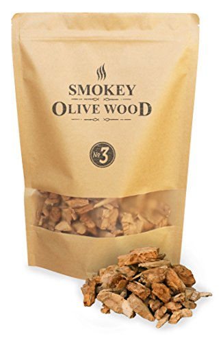 1.7 liters (55.4 fl oz) Olive Wood Smoking Chips, grain size 2 - 3 cm (0.8 - 1.2 inches), Smokey Olive Wood