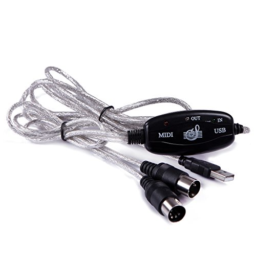 HDE USB to MIDI Cable PC to Synthesizer Microphone Keyboard Instrument Converter Adapter for Home Music Studio - Image 1