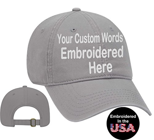 Custom Text Embroidered Dad Hat. Unstructured Adjustable Metal Buckle (Gray Dad Hat)