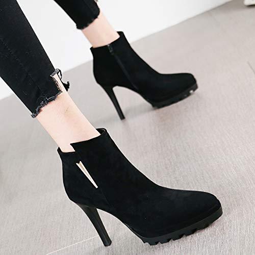 HRCxue Pumps Wasserdichte runde Kopf Stiletto Absätze weibliche Schwarze Wild Side Reißverschluss Stiefel Stiefel