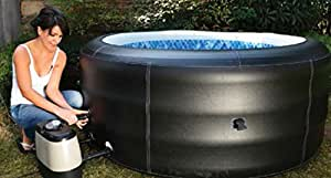 Jilong Avenli 4-Person Spa Prolong Deluxe Inflatable Hot Tub with Artificial Leather Cover, Black