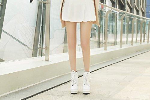Latasa Damesmode Lace Up Plattform Sleehakken Enkellaarzen Wit