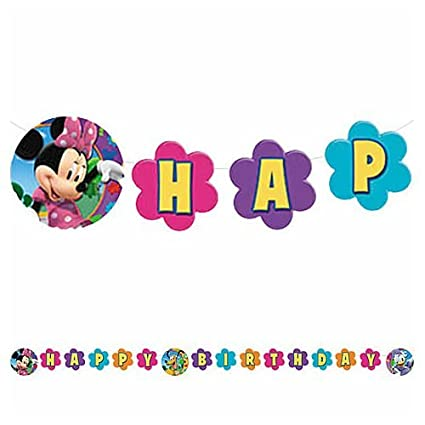Amazon.com: Minnie Mouse Feliz cumpleaños Banner: Toys & Games
