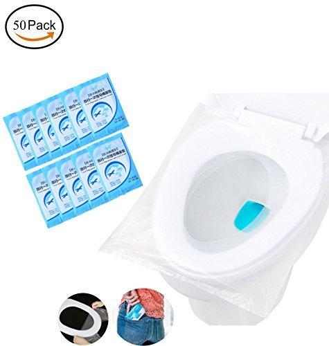 Fundas desechables de plástico para asiento de inodoro, tamaño de bolsillo, para viajes, envueltas individualmente,...