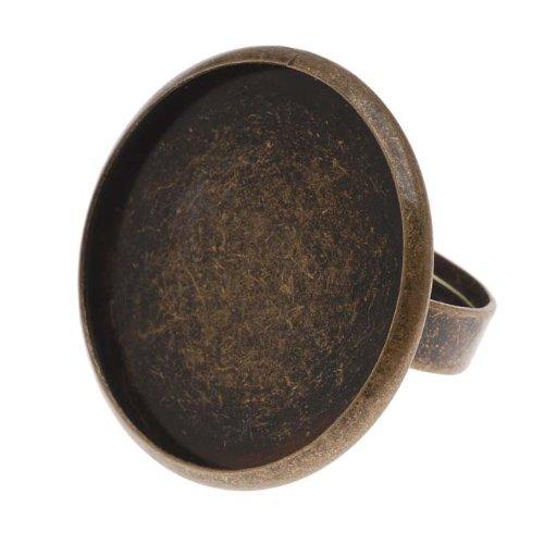 Beadaholique Round Bezel Adjustable Ring, 30mm, Antiqued Brass