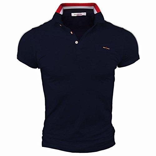 SparrK Mens Slim Lapel Polo Shirts Casual Short-sleeve T-Shirt Grey L